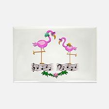 Dancing Pink Flamingos - Rectangle Magnet