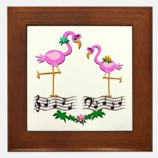 Dancing Pink Flamingos - Framed Tile