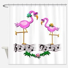 Dancing Pink Flamingos - Shower Curtain