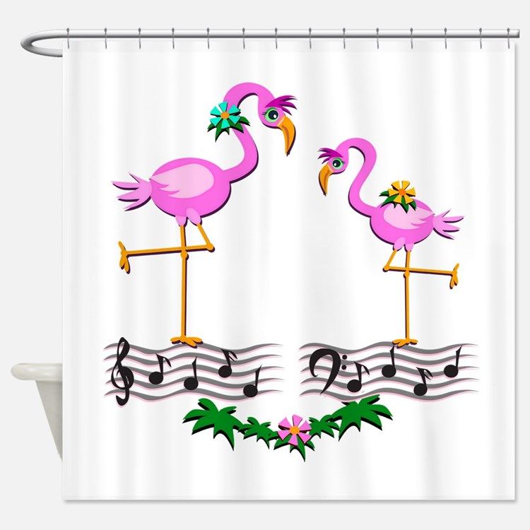 Dancing Pink Flamingos - Shower Curtain