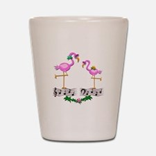 Dancing Pink Flamingos - Shot Glass