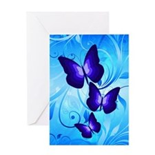 Butterflies on Blue Greeting Card