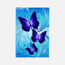 Butterflies on Blue Rectangle Magnet