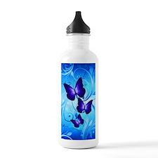 Butterflies on Blue Sports Water Bottle