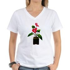 Red Anthurium Plant in Container T-Shirt
