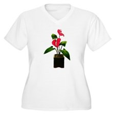 Red Anthurium Plant in Container Plus Size T-Shirt