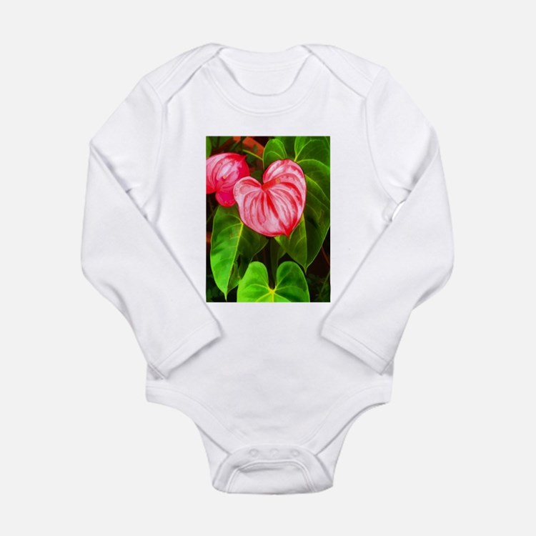 Tropical Red Anthurium Plant Body Suit