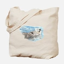 Cute Watercolor Otter Relaxing or Chillin Tote Bag