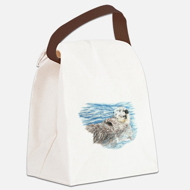 Cute Watercolor Otter Relaxing or Canvas Lunch Bag