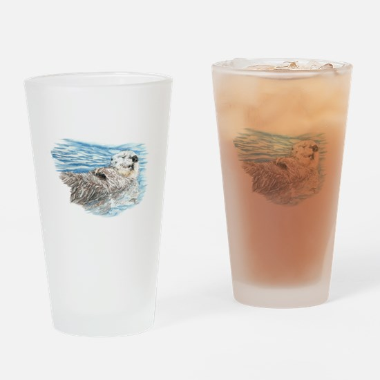 Cute Watercolor Otter Relaxing or C Drinking Glass