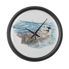 Cute Watercolor Otter Relaxing or Large Wall Clock