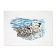 Cute Watercolor Otter Relaxing or C 5'x7'Area Rug