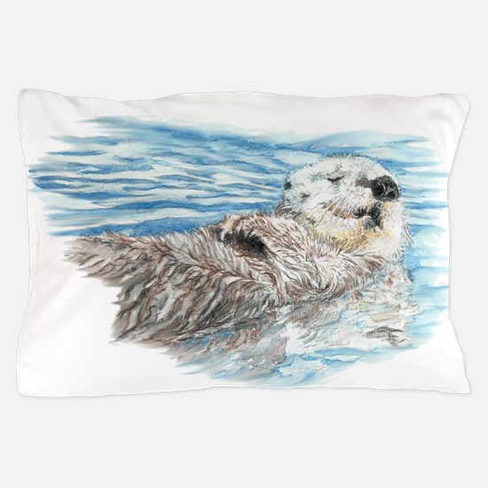 Cute Watercolor Otter Relaxing or Chil Pillow Case