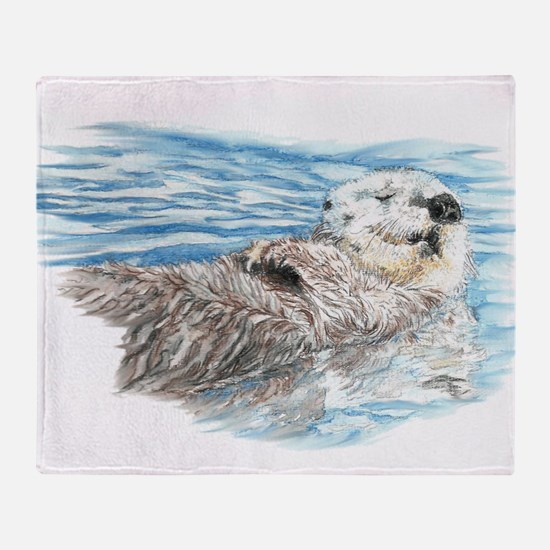 Cute Watercolor Otter Relaxing or Ch Throw Blanket