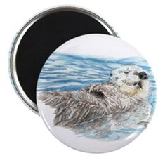 """Cute Watercolor Otter Relax 2.25"""" Magnet (10 pack)"""