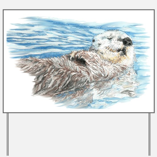 Cute Watercolor Otter Relaxing or Chilli Yard Sign