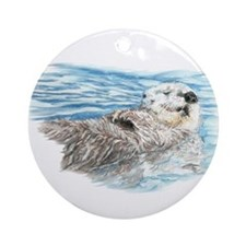 Cute Watercolor Otter Relaxing or Ornament (Round)