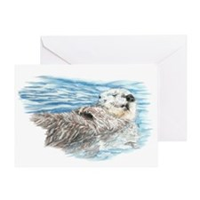 Cute Watercolor Otter Relaxing or Ch Greeting Card