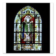 "Saint Anatole Stain Glass Square Car Magnet 3"" x 3"