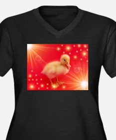 cute duck in red with small shining stars Plus Siz
