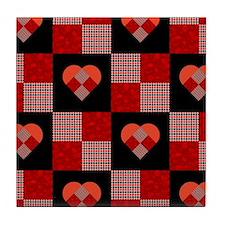 HEART QUILT Tile Coaster