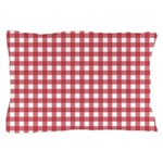 Gingham Checked Red Pillow Case