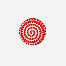 Red hearts spiral Mini Button