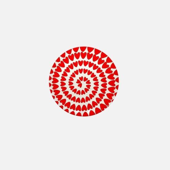 Red hearts spiral Mini Button
