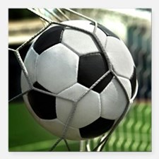 """Soccer Goal Square Car Magnet 3"""" x 3"""""""