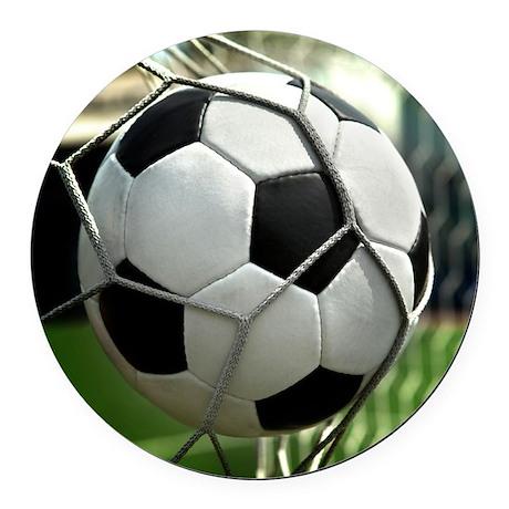 Soccer Goal Round Car Magnet