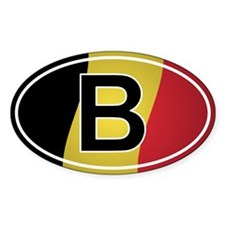 Belgian Oval Car Sticker - Flag Design