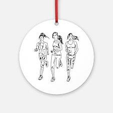 Three female runners Ornament (Round)