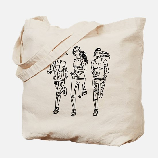 Three female runners Tote Bag
