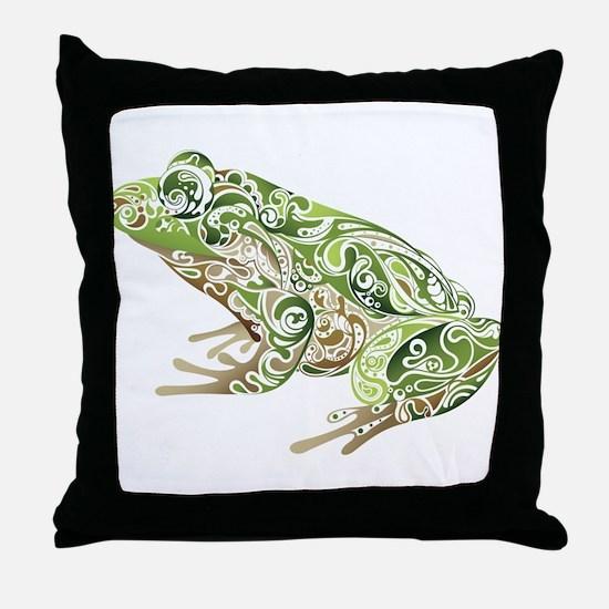 Filligree Frog Throw Pillow