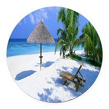 Beach Rest Round Car Magnet
