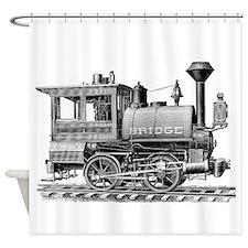 Vintage Steam Locomotive Shower Curtain