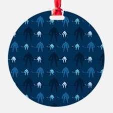 Dark and Light Blue Ice Hockey Ornament