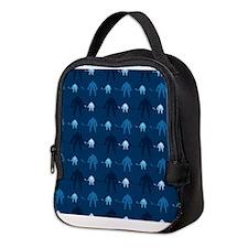 Dark and Light Blue Ice Hockey Neoprene Lunch Bag