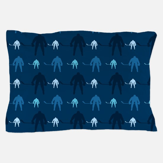 Dark and Light Blue Ice Hockey Pillow Case
