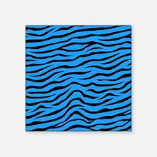 Sky Blue and Black Animal Print Zebra Stripes Stic