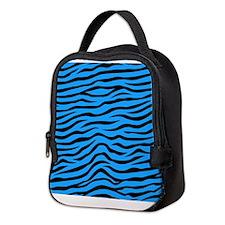 Sky Blue and Black Animal Print Zebra Stripes Neop