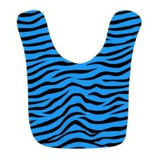 Sky Blue and Black Animal Print Zebra Stripes Bib