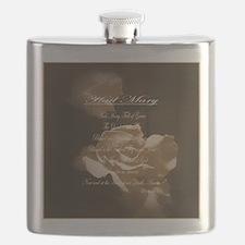 Hail Mary Prayer Antique Roses Flask