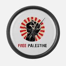 Free Palestine Large Wall Clock