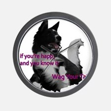 Border collie Wag your tail Madeline wi Wall Clock