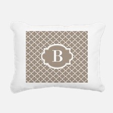 Beige Quatrefoil Monogram Rectangular Canvas Pillo