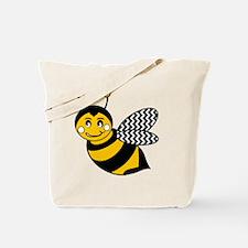 Cute Chevron Winged Bumble Bee Tote Bag