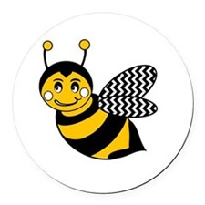 Cute Chevron Winged Bumble Bee Round Car Magnet