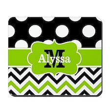 Black Green Dots Chevron Personalized Mousepad
