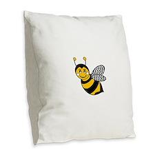 Cute Bee Burlap Throw Pillow
